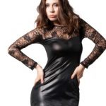 Leather with Lace Dress Black