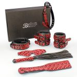 7pcs Red Bondage Set in PU Leather