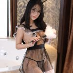 Cute Rabit Black Lace-up Sexy Babydoll