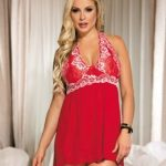 Red Lace stitching Halter Open Back Sleepwear