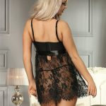 Sexy Black Eyelash Trim Lace Babydoll Set