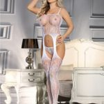 Crotchless Fishnet White Bodystocking - White
